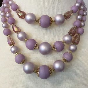 Japan Jewelry - Vintage Lavender Faux Pearl Necklace
